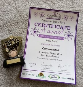 Commended in Best Large Back Garden category - Bromley in Bloom