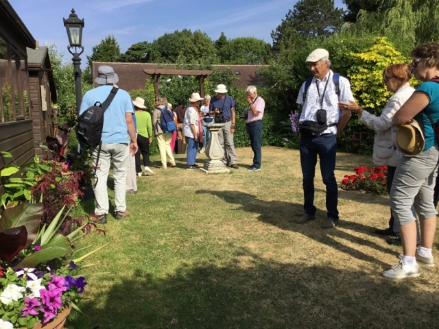 French visitors to Freda's garden - Garden view