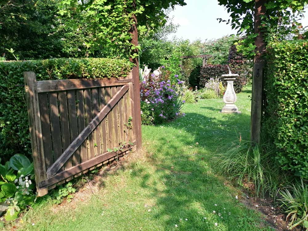 Gate into Orchard at Freda's Garden